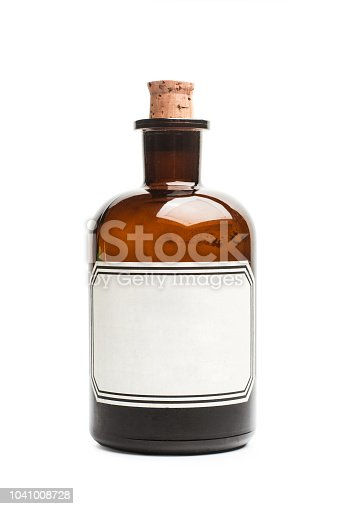 A vintage bottle in a cut out view