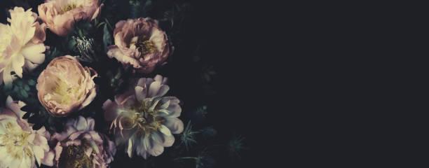 bouquet de cru de belles pivoines sur le noir. décoration fleuriste. fond floral. style baroque à l'ancienne. papier peint naturel de modèle de fleurs ou carte de voeux - couleur des végétaux photos et images de collection