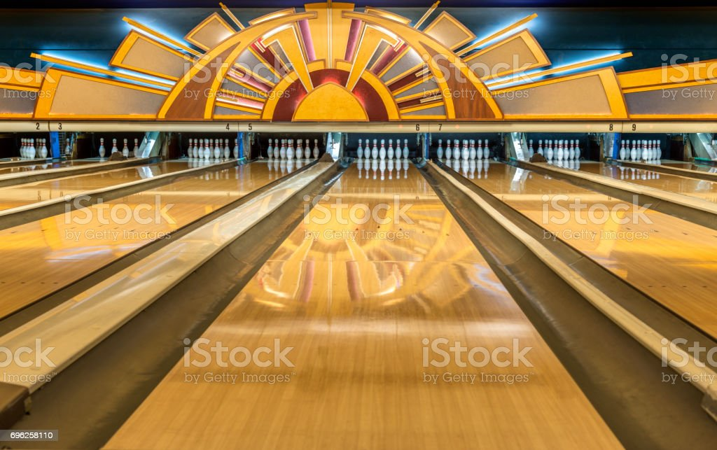 Vintage Bowling alley stock photo