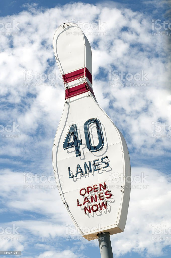 Vintage Bowling Alley Sign stock photo