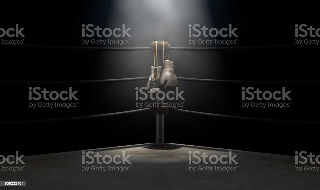 Vintage Boxing  Corner And Hung Up Gloves stock photo