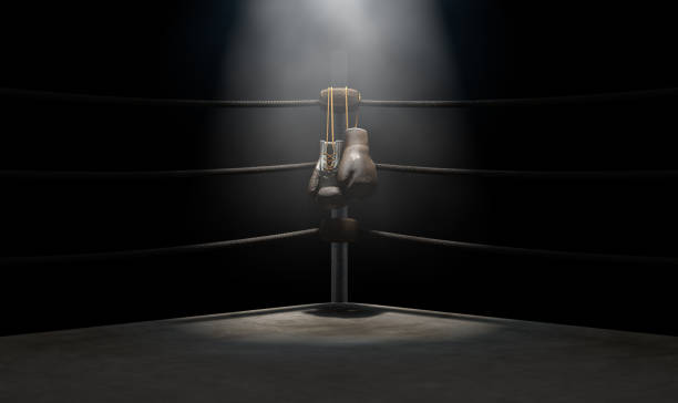 vintage boxing  corner and hung up gloves - wrestling stock pictures, royalty-free photos & images