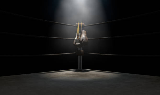 Esquina de vintage de boxeo y guantes de Hung Up - foto de stock