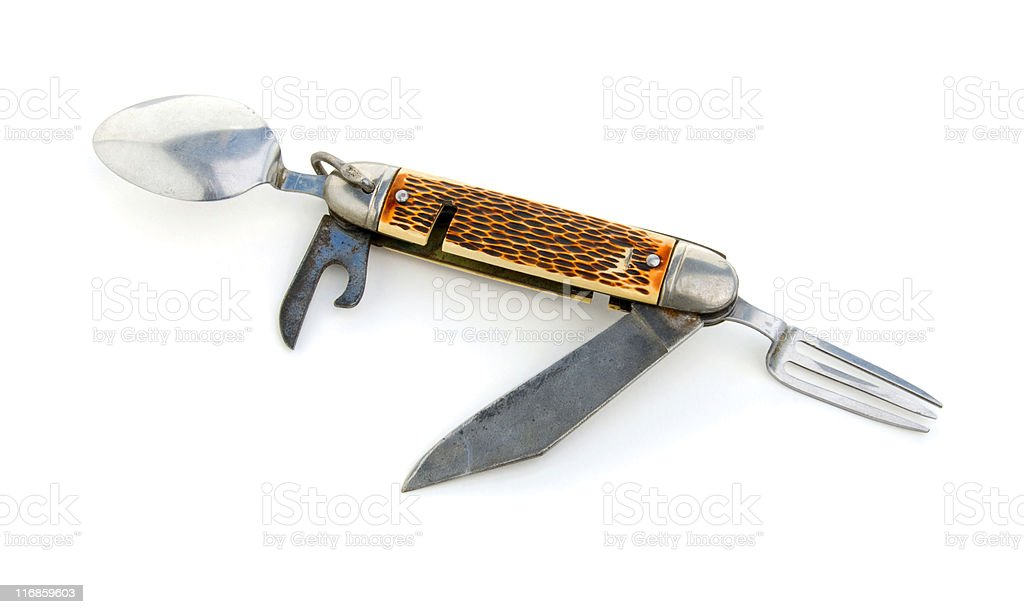 Vintage Boy Scout Pocket Knife Fork And Spoon Stock Photo