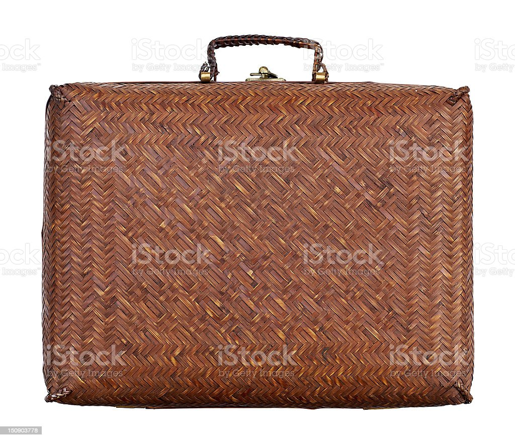 vintage braided suitcase royalty-free stock photo