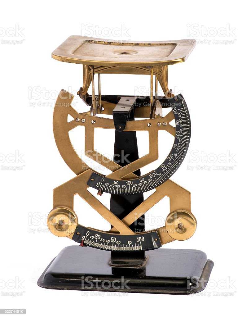 Vintage brass letter scale for weighing letters stock photo