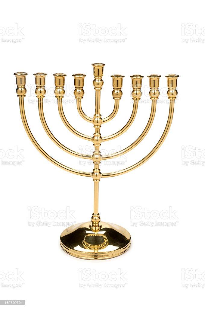 Vintage brass menorah candle holder stock photo