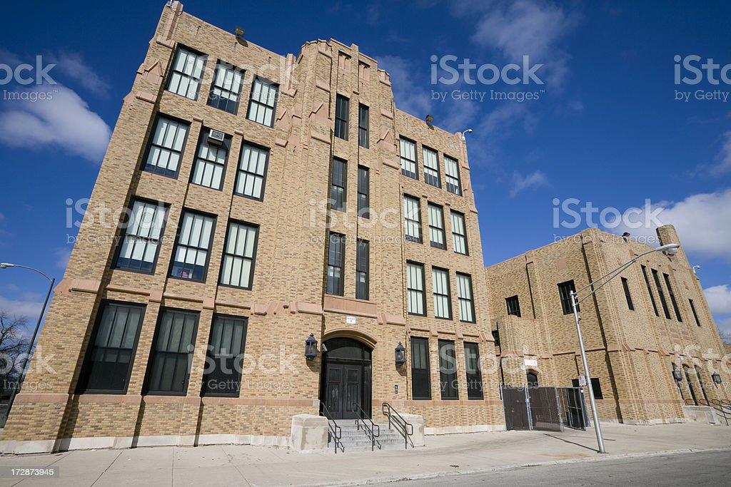 Vintage Brick Chicago High School royalty-free stock photo