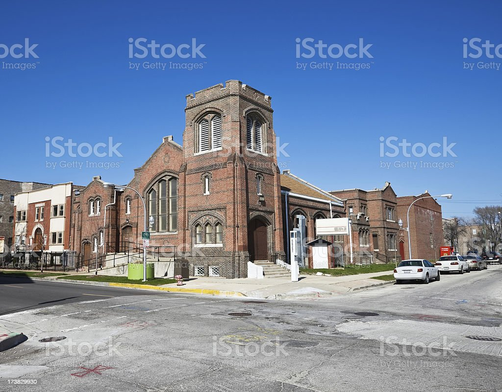 Vintage Brick Chicago South Side Church royalty-free stock photo