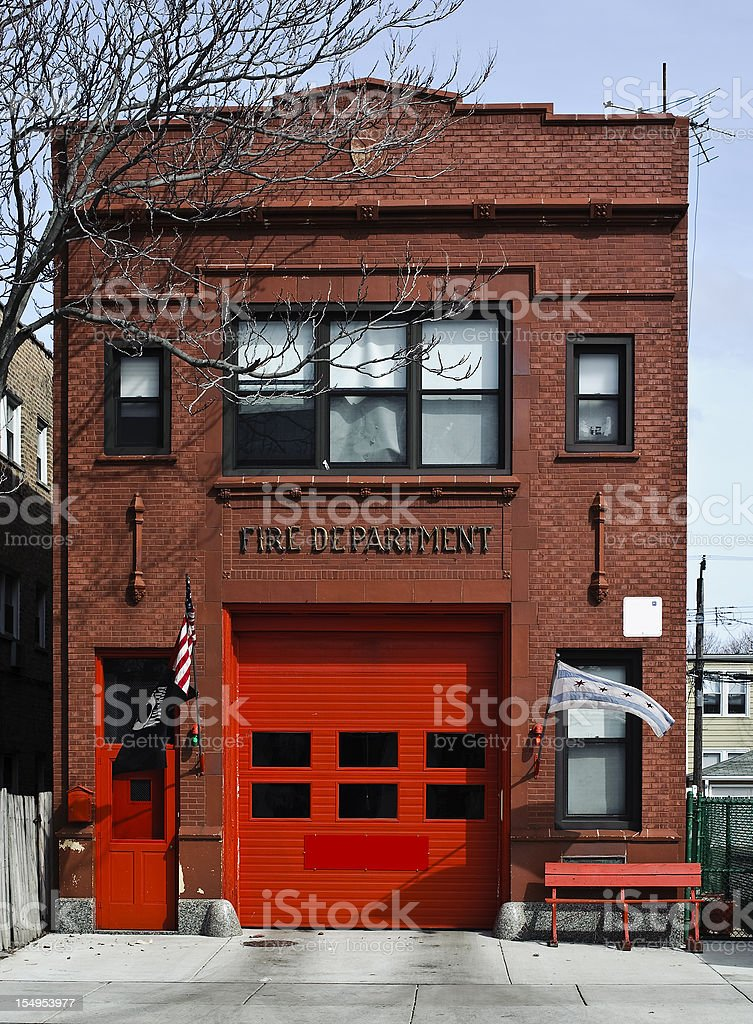 Vintage brick fire station stock photo