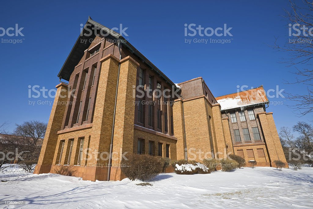 Vintage Brick High School in Chicago royalty-free stock photo