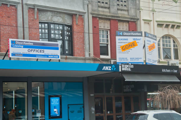 Vintage brick office building of ANZ bank in South area of Melbourne Australia stock photo