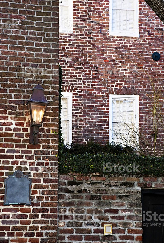 Vintage brick walls and windows royalty-free stock photo