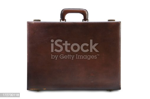 Vintage Brown Briefcase with Clipping Path Included.
