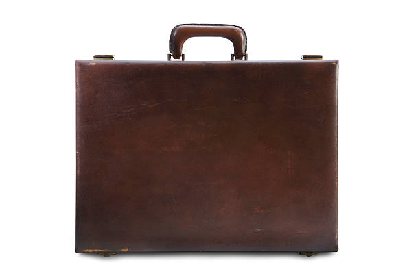 Vintage Briefcase with Path Vintage Brown Briefcase with Clipping Path Included. briefcase stock pictures, royalty-free photos & images