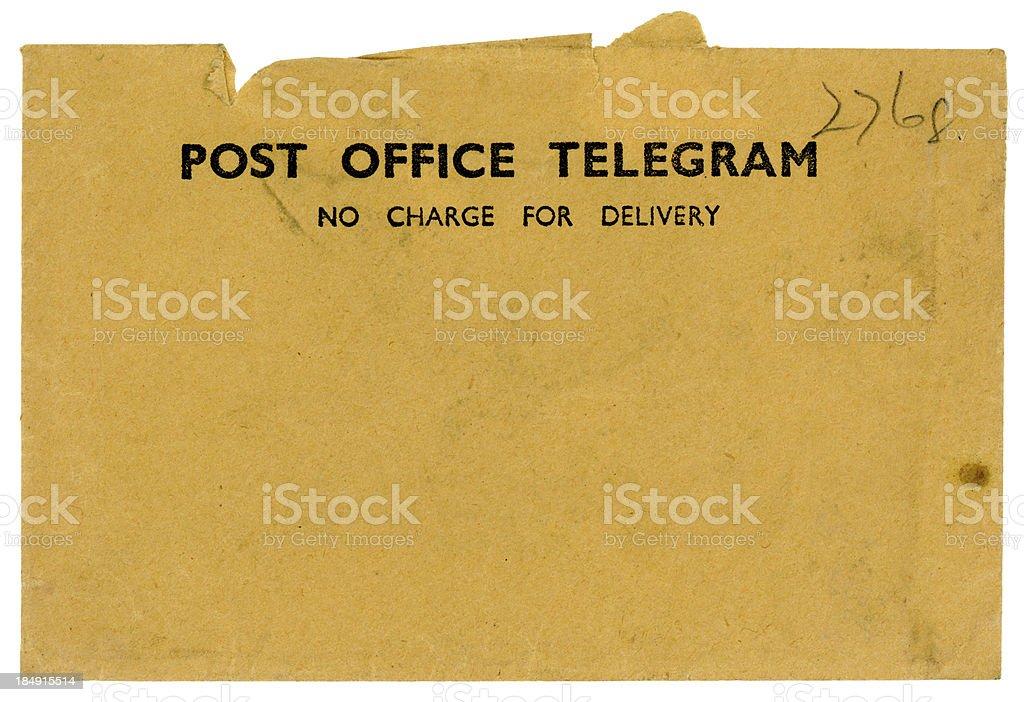 Vintage British Post Office Telegram envelope royalty-free stock photo