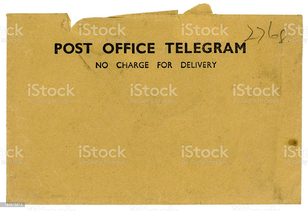 Vintage British Post Office Telegram envelope stock photo