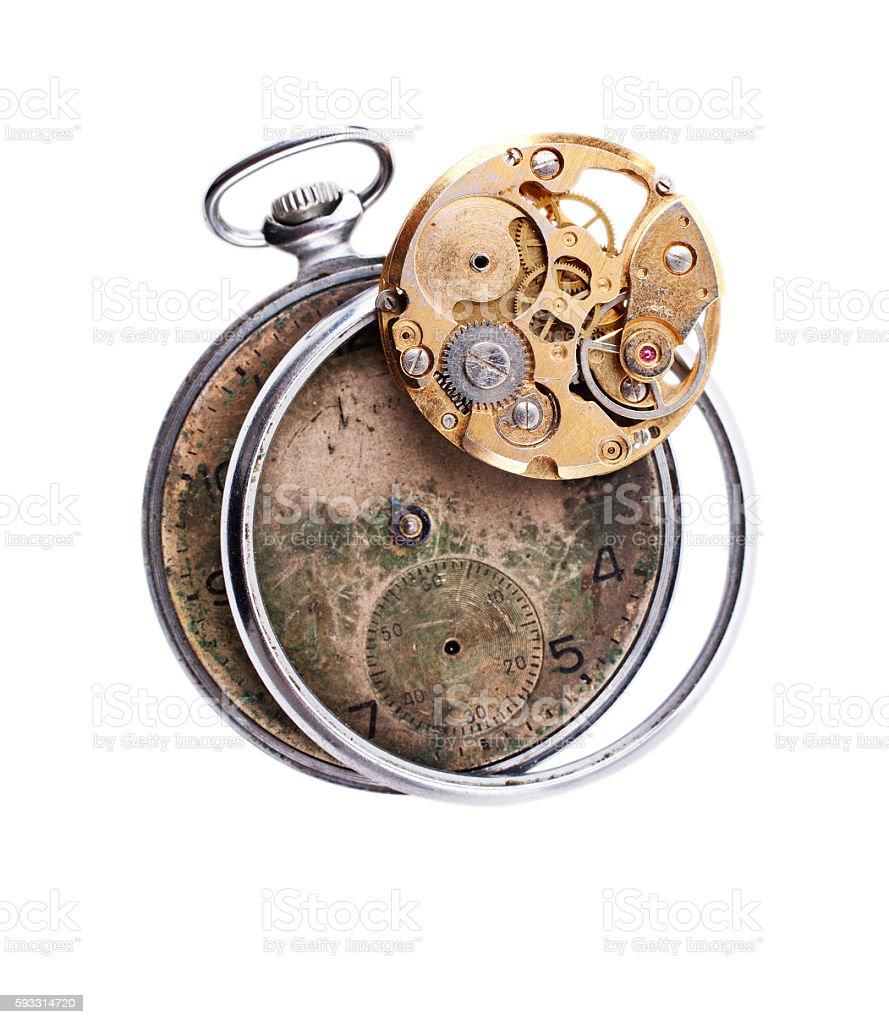 Vintage broken clock stock photo