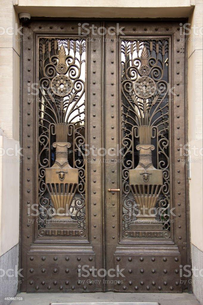 Vintage bronze door stock photo