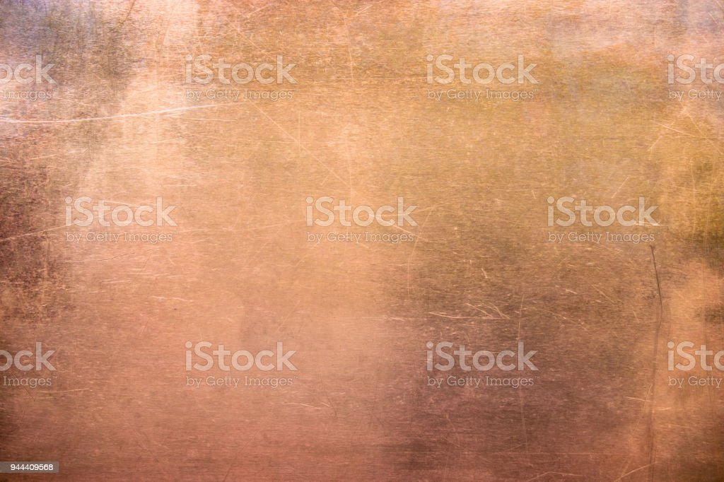 Vintage bronze or copper plate, non-ferrous metal sheet as background stock photo