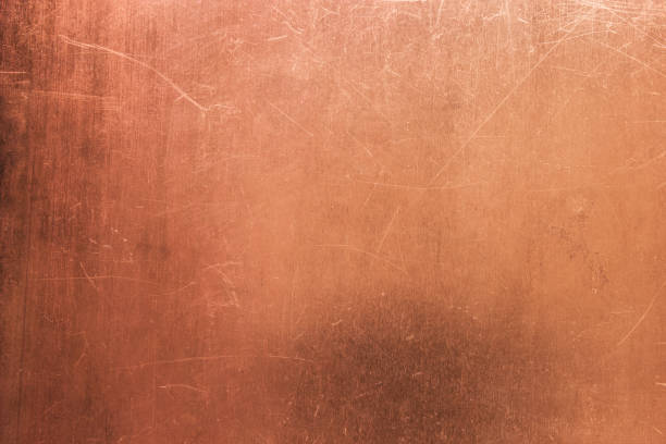 vintage bronze or copper plate, non-ferrous metal sheet as background - copper stock photos and pictures