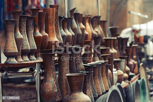 istock Vintage bronze vases 671386040