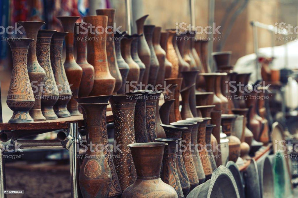 Vintage bronze vases stock photo