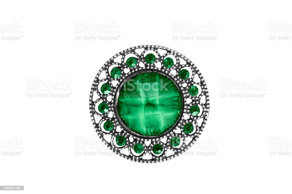 Vintage brooch isolated stock photo