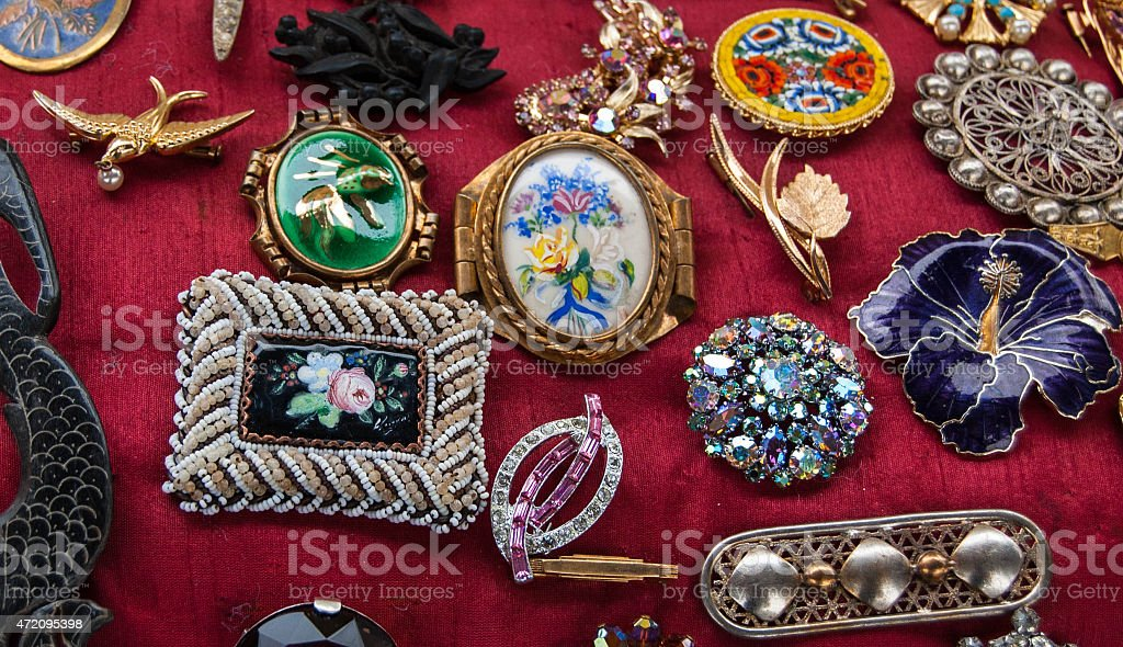 Vintage Brooches For Sale At Flea Market In Paris France