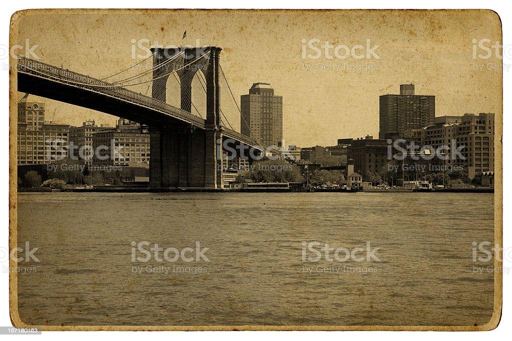 vintage brooklyn bridge royalty-free stock photo