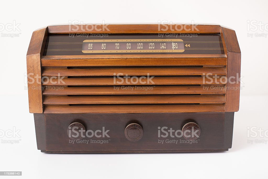 Vintage Brown and Tan Radio, Isolated on White stock photo