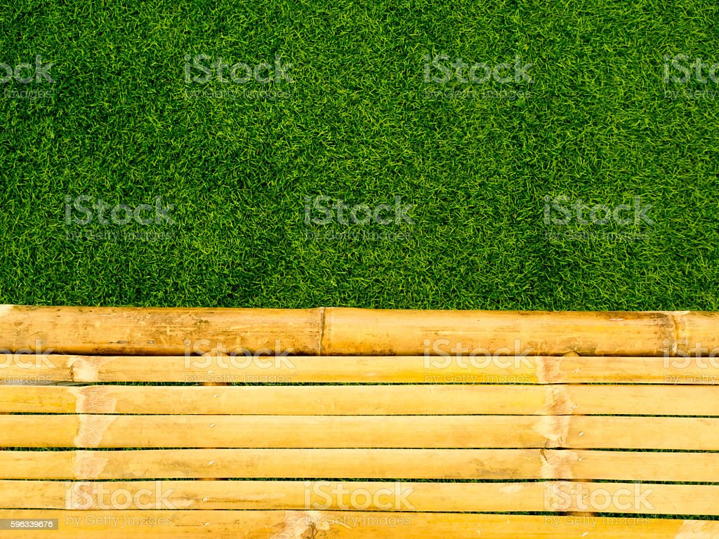 Vintage brown and yellow bamboo with fresh green grass background. Lizenzfreies stock-foto