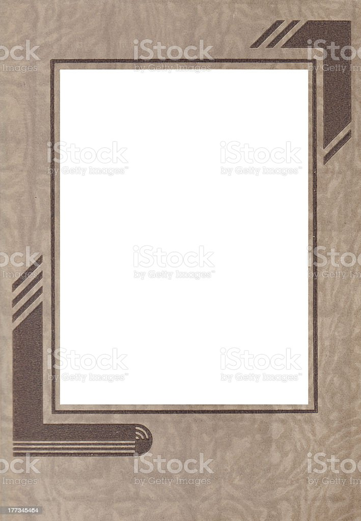Vintage brown Art-Deco Paper Photo Frame royalty-free stock photo
