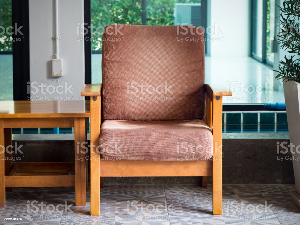 Vintage brown chair for relax and rest slow life.