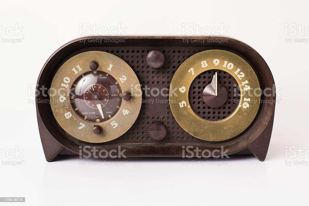 Vintage Brown, Gold, and Tan Radio, Isolated on White royalty-free stock photo