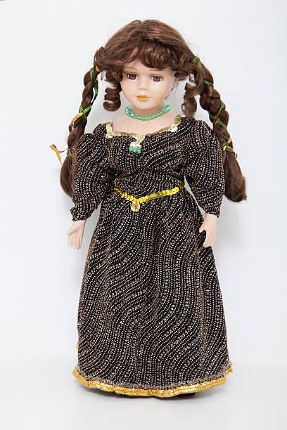 vintage cabello castaño muñeca en elegante vestido - muñeca bisque fotografías e imágenes de stock