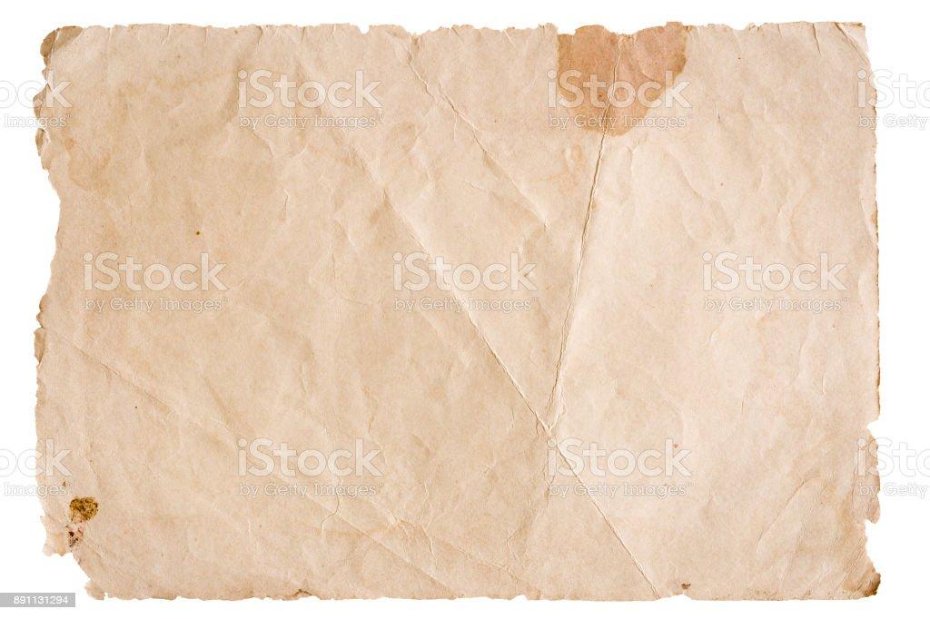 Vintage braun Papier isoliert auf weißem Hintergrund – Foto
