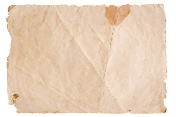 vintage brown paper isolated on white background - rough stock photos and pictures