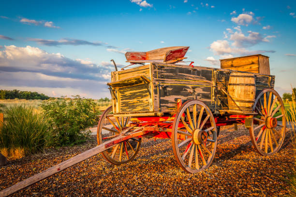 A Vintage Buckboard Wagon stock photo
