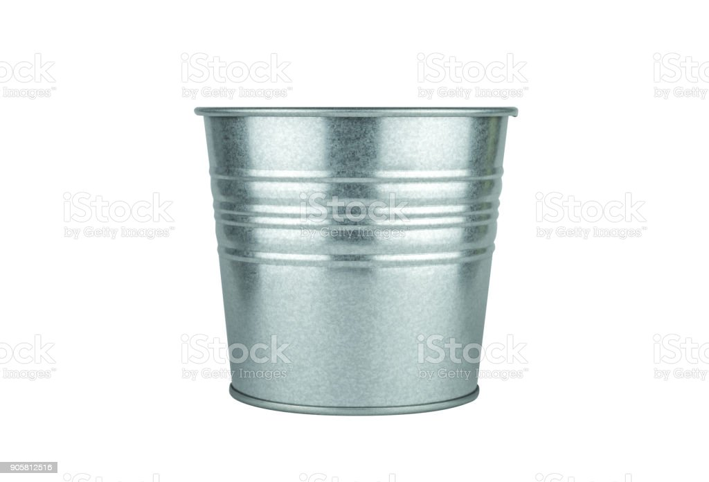 vintage bucket on isolated white background with clipping path stock photo
