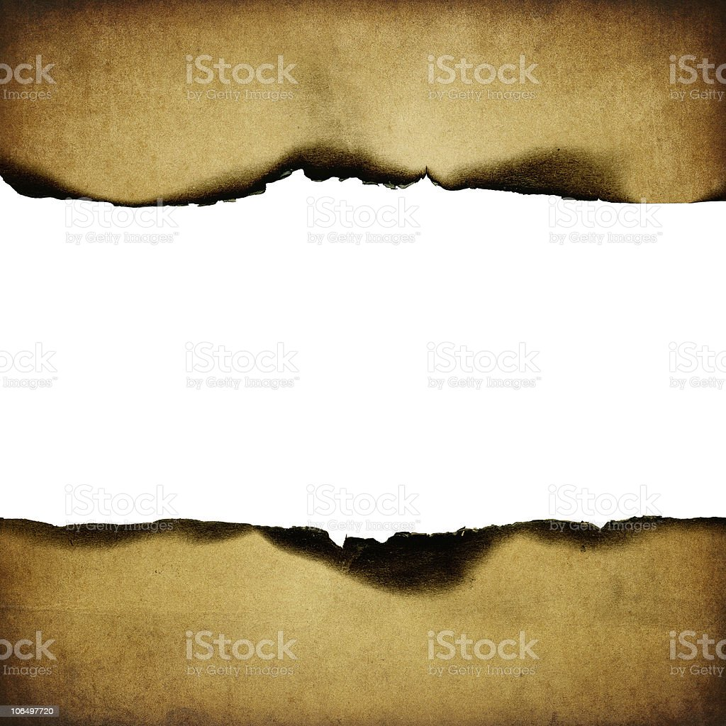 Vintage burned paper background, center part isolated (space for text). stock photo