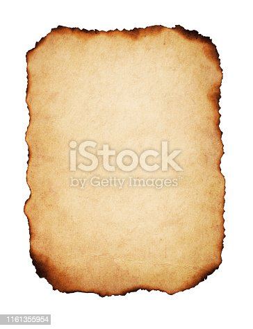 Vintage paper with burnt edges, isolated on white background.
