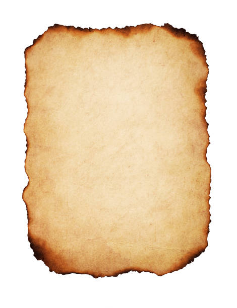 Vintage Burnt Paper Vintage paper with burnt edges, isolated on white background. parchment stock pictures, royalty-free photos & images