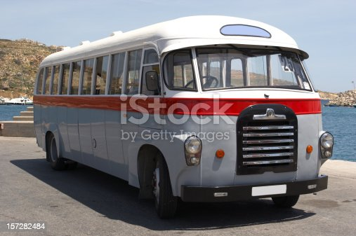 Old bus at the port of Mgarr, Island of Gozo
