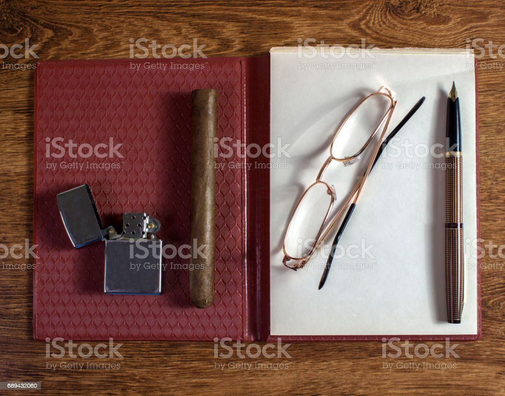 Vintage business look, old style equipment stock photo