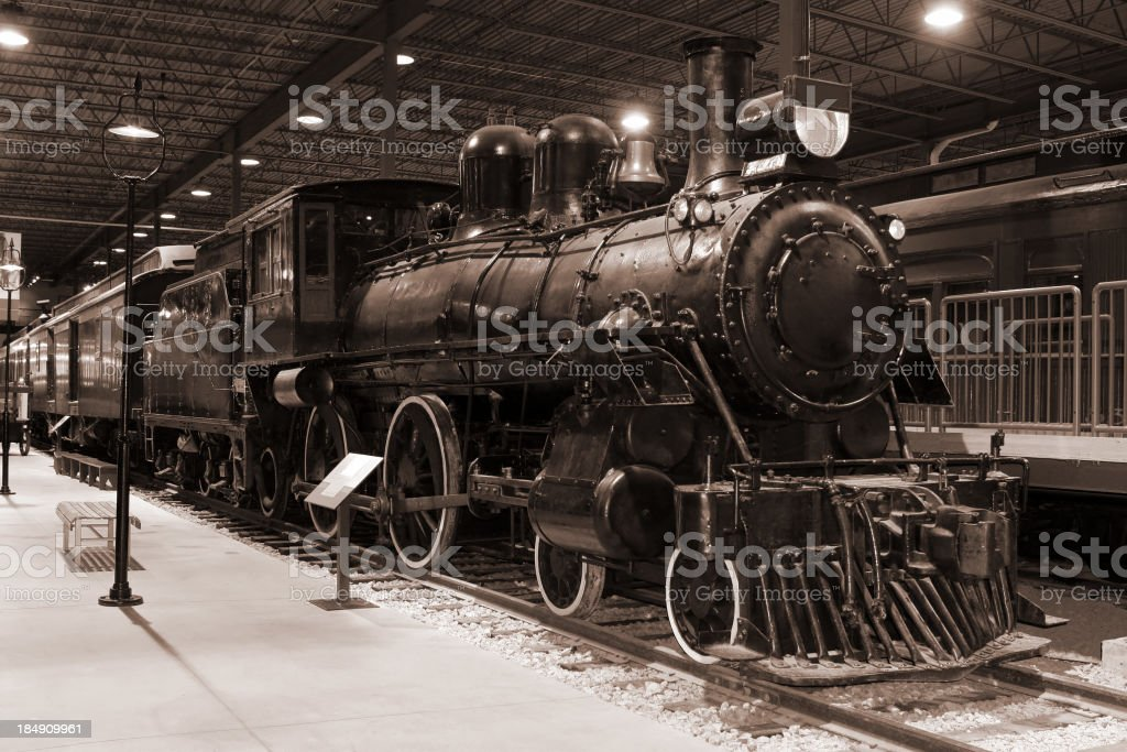 Vintage B&W Passenger Train and Station stock photo