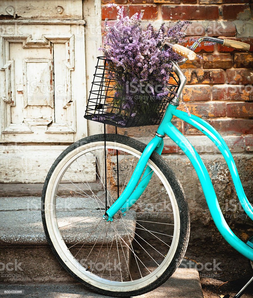 Vintage bycicle with lavender basket stock photo