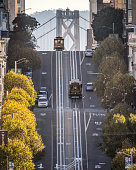 The historic cable car on California Street in San francisco city in the morning. California. USA