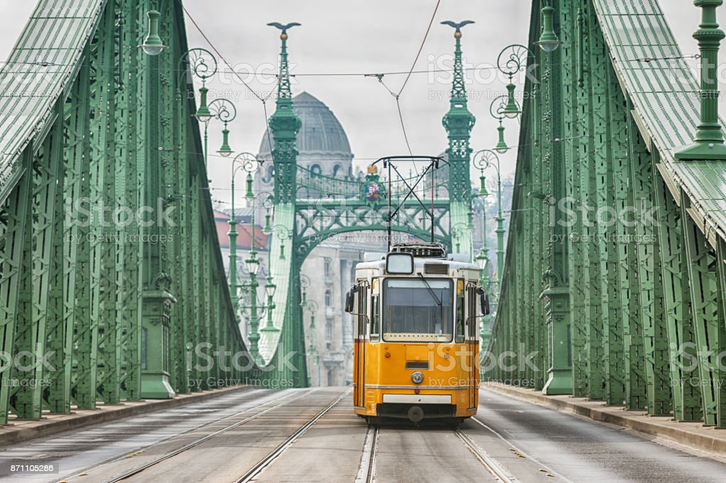 Vintage Cable Car on Liberty Bridge stock photo