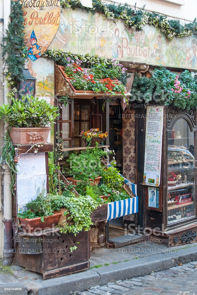 Vintage Cafe Le Poubot On Montmartre Paris France Ii Stock Photo Download Image Now Istock